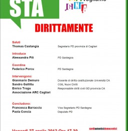 PD Cagliari: Dirittamente con Paola Concia, ARC e CGIL Nuovi Diritti